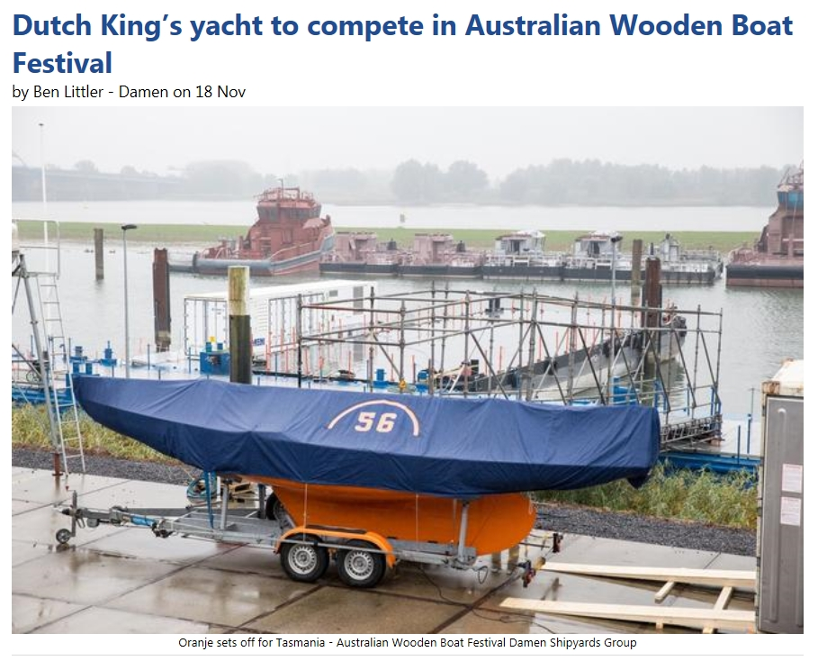 Dutch King's yacht to compete in Australian Wooden Boat Festival sailworld.com